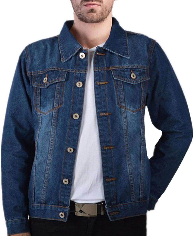 0d12c98a9 LETSQK Men's bluee Casual Button Front Slim Fit Trucker Jean Denim Jacket  ade991