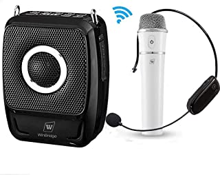Wireless Portable Pa Speaker System with Mic - 25W Microphone and Speaker Set Loudspeaker Music Sound System, Bluetooth Voice Amplifier Headset for Presentation, Teacher, Tour Guide, Wedding etc