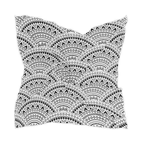 Hoofdbedekking Sheer Thin Chiffon abstract zwart etnisch patroon schaal naadloos mandala bloem zijden sjaal meisje hoofddoek
