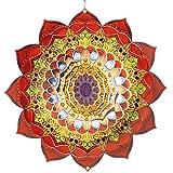 CIM Carrillón de Acero Inoxidable - Mandala Bengal Ø 250 mm - carrillón Giratorio Ligero con Colores Brillantes y Finos diseños - suspensión incluida