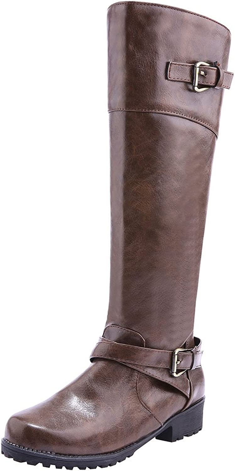 Sekesin Women's Fashion Round Toe Knee High Riding Boot shoes for Lady Low Heel with Side Zipper
