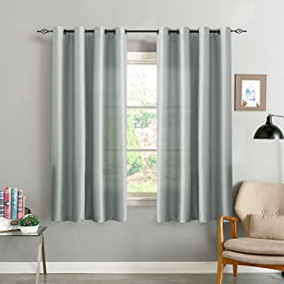 Faux Silk Window Curtains for Living Room 63 inch Length Dupioni Grey Curtain Panels for Bedroom Grommet Top Window Treatments Light Filtering Satin Drapes One Pair