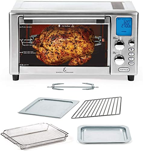 popular Emeril Lagasse Power AirFryer 360 Better 2021 Than Convection Ovens Hot Air Fryer Oven, Toaster Oven, Bake, Broil, Slow Cook and More Food Dehydrator, discount Rotisserie Spit, Pizza Function Cookbook sale