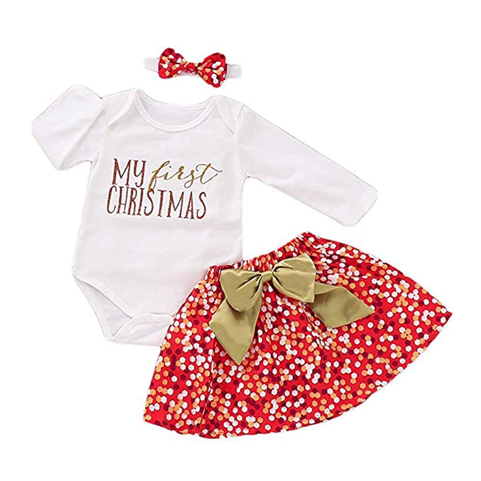 3Pcs Newborn Baby Girls Clothes My First Christmas Romper Tops + Tutu Skirt + Sequin Headband Outfits Set Outfits
