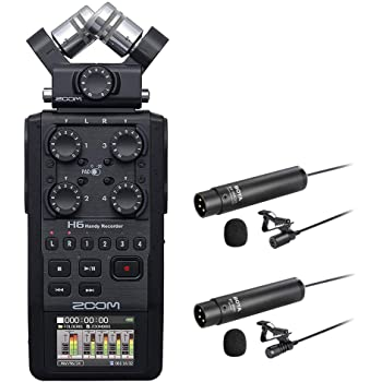 Zoom H6 All Black 6-Track / 6-Input Portable Recorder with Single Mic Capsule, Boya Omnidirectional & Cardioid XLR Lavalier Mic Bundle