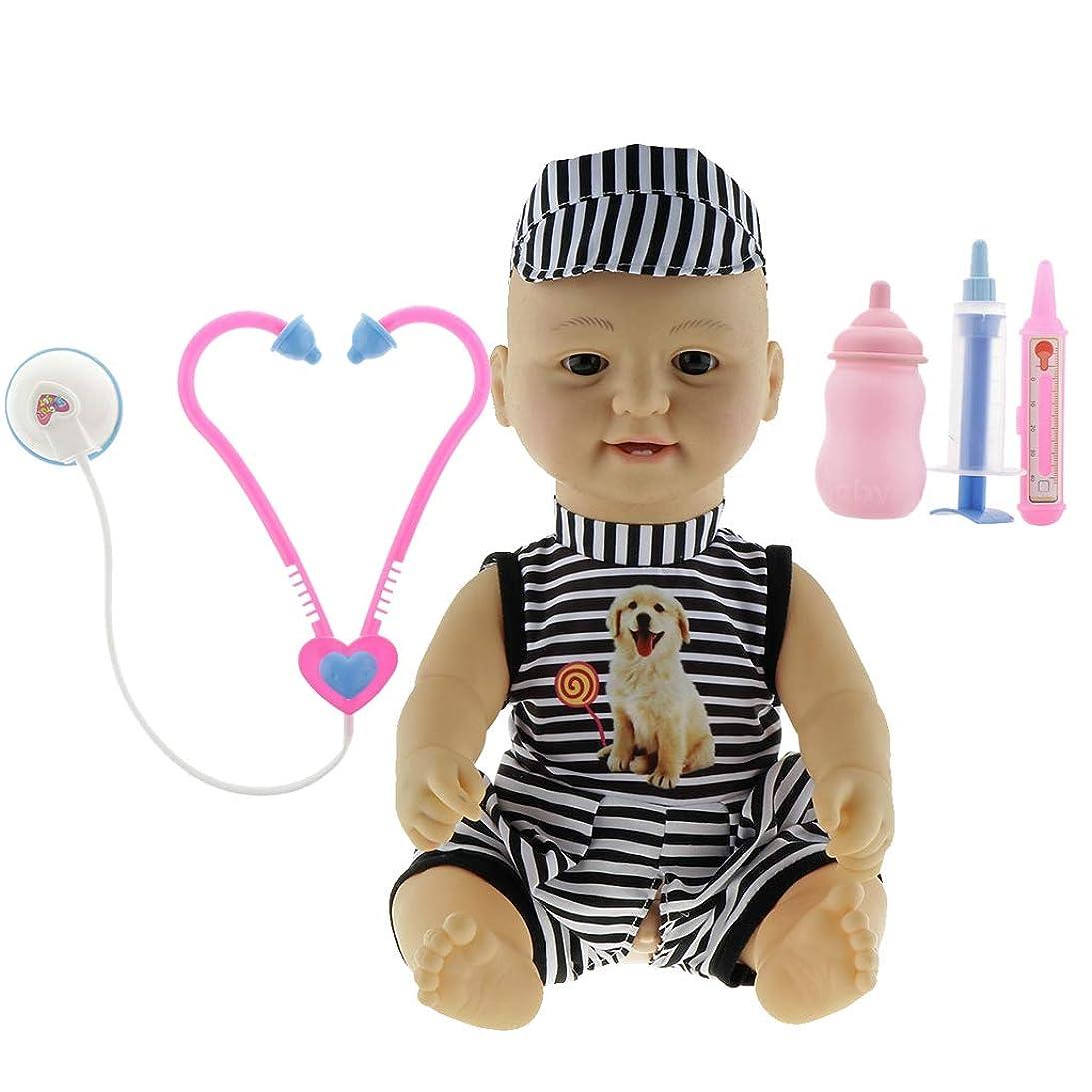 ゴムディレイ言語学リアル 子どもプレーセット 42cmの新生児男の子人形 お医者さん ごっこ遊び玩具