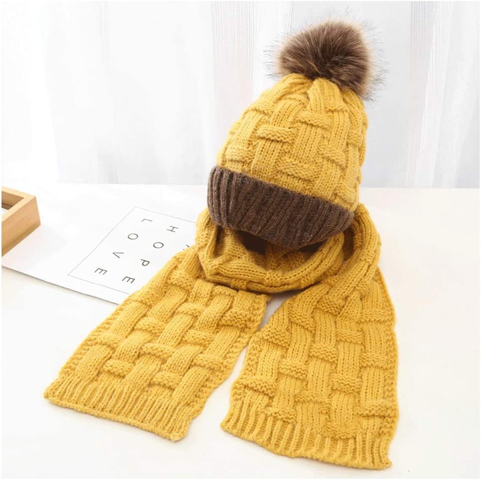 JJSPP Winter Soft Knit Hat Scarf Kids Thickened Set Novelty Elegant Bean NEW before selling ☆