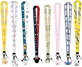 CheeseandU 8Pack Cute Neck Lanyard Necklace Phone Straps Key Chain, Cartoon Totoro Snoopy Cat Paw Neck Lanyard for ID Badge Holder Bags with Lobster Clasps & Acrylic Cartoon Pendant for Girls Kids