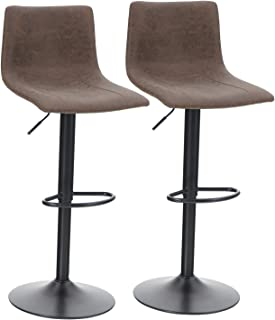 ALPHA HOME Bar Stools Counter Height Adjustable Bar Chair 360 Degree Swivel Seat Modern Square Pu Leather Kitchen Counter Stools Dining Chairs Set of 2,350 lbs Capacity ,Brown
