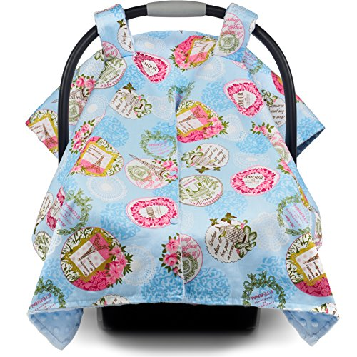 Premium Baby Carseat Canopy and Nursing Cover 2 in 1 | All Season, Warm, Windproof, Sun and Bug Protection, Universal Fit, Boy or Girl |'Parisian Glam' Print with Minky Fabric