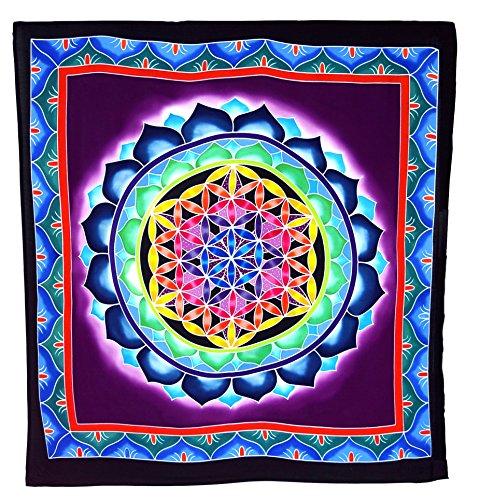 Guru-Shop Colgante de Pared, Tela de Pared, Mural, Tela Batik - Flor de la Vida Azul/púrpura, Multicolor, Sintético, 105x95 cm, Bolsillos de Pared Colgantes de Pared