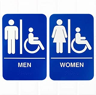 (Set of 2) ADA Restroom Signs with Braille, Men's and Women's Handicap Accessible Signs - Blue and White, 9 x 6-inches ADA Compliant Restroom/Bathroom Signs by Tezzorio