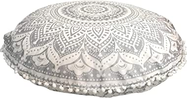 Stylo Culture Indian Meditation Cushion Floor Pillow Mandala Floor Cushion Printed Cushion Cover Silver 32x32 Large Decorativ
