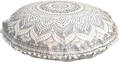 Stylo Culture Indian Meditation Cushion Floor Pillow Mandala Floor Cushion Printed Cushion Cover Silver 32x32 Large Decora...