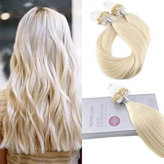 Moresoo 18 Inch Micro Ring Beads Tipped 100% Human Hair Extensions Loops Platinum Blonde (#60) 1g/Strand 50g/Pack Micro Beads Tipped Human Hair Extensions