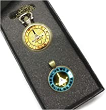 calhepco Gravity Falls Mysteries Bill Cipher Wheel Pocket Watch Chain and Necklace Toy Pendant Gift Box