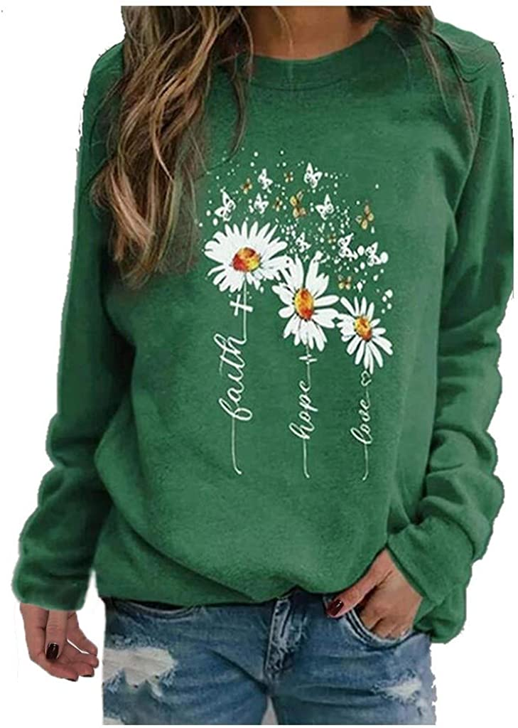 Jaqqra Sweatshirts for Women Pullover Trendy Teen Girls Graphic Long Sleeve Printed 12-14 Casual Loose Shirts Blouse