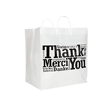 """Royal Recyclable Plastic Shopping Bags with Rigid Handles, 14 x 10 x 15 Inches, Multilingual""""Thank You"""" Design, Case of 100"""