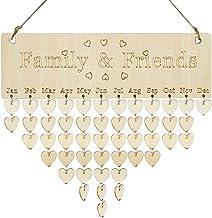 Demiawaking 壁掛けカレンダー 2019 木製 誕生日リマインダー 特別な日 インテリア 写真道具 おしゃれ 飾り プレゼント DIY ハート