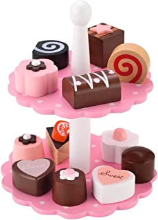 KIDS TOYLAND Wooden Play Desserts Tea Time Pretend Food Set 12 Toys Cakes 1 Dessert Tower