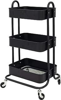 Q&Y 3-Tier Metal Mesh Rolling Utility Cart Heavy Duty Storage Organizer (Black)