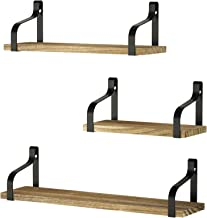 Love-KANKEI Floating Shelves Wall Mounted Set of 3, Rustic Wood Wall Storage Shelves for..