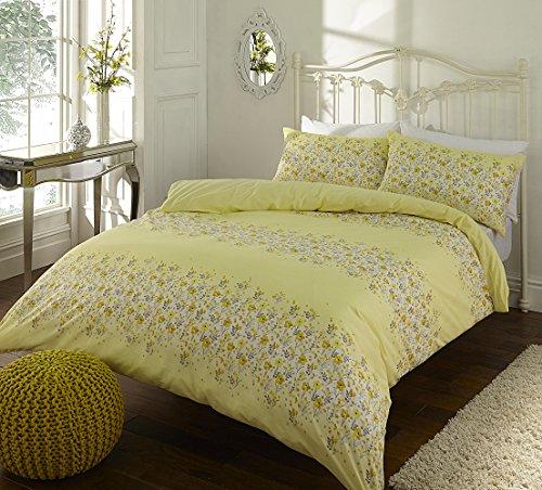 SLEEPSCENE Cotton Rich Megan Floral Print Reversible Duvet Cover - 220 x 230 cm and Pillowcase Bedding Bed Set, King - Yellow
