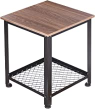 Plemo Vintage Side Table 2 Tier Night Stand with Sturdy Storage Shelf and 4 Adjustable Feet, Sturdy and Easy Assembly for Living Room, Bedroom