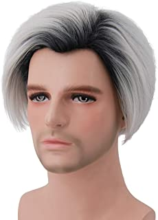 Bopocoko Mens Wig Anime Cosplay Wig Short Straight Silver White Wigs Halloween Costumes for Men with Wig Cap BU220