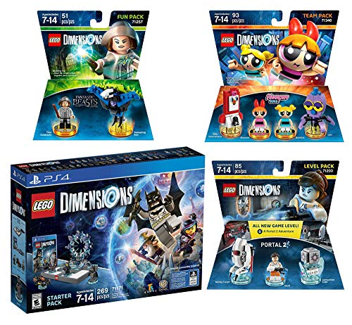 Lego Dimensions Starter Pack + PowerPuff Girls Team Pack + Portal 2 Level Pack + Fantastic Beasts Tina Goldstein Fun Pack for PS4