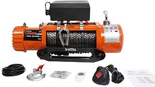 X-BULL 12V Waterproof Synthetic Rope Winch-13000 lb. Load Capacity IP67 (Orange)