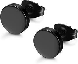 FIBO STEEL Stainless Steel Black Stud Earrings for Men Women, 3mm-8mm Available