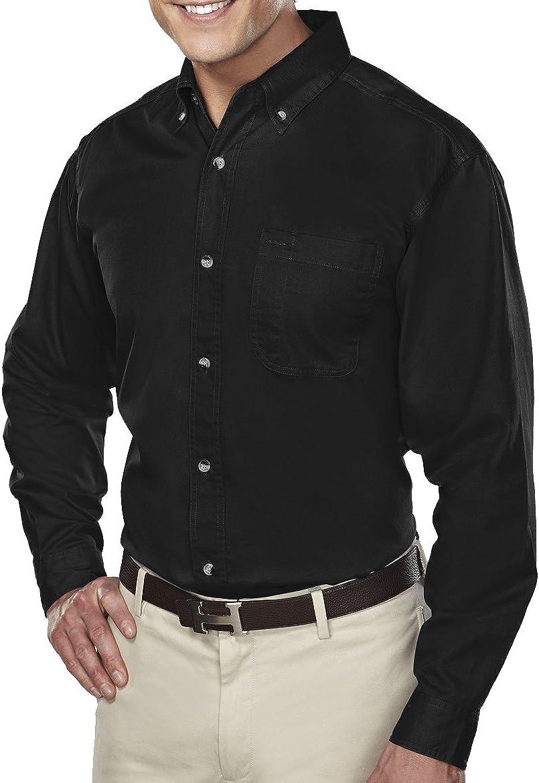 A&E Designs Men's Tall Size Down Collar Long Sleeve Dress Shirt - Black