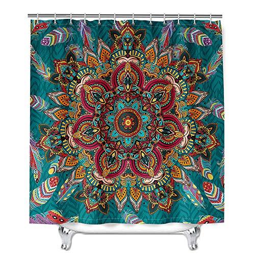 Hiser Duschvorhang aus Polyester Wasserdichter, Waschbare Duschvorhänge mit 12 Duschvorhangringen, Mandala Drucken Badewannevorhang für Badezimmer (Klassische Feder,180x200cm)