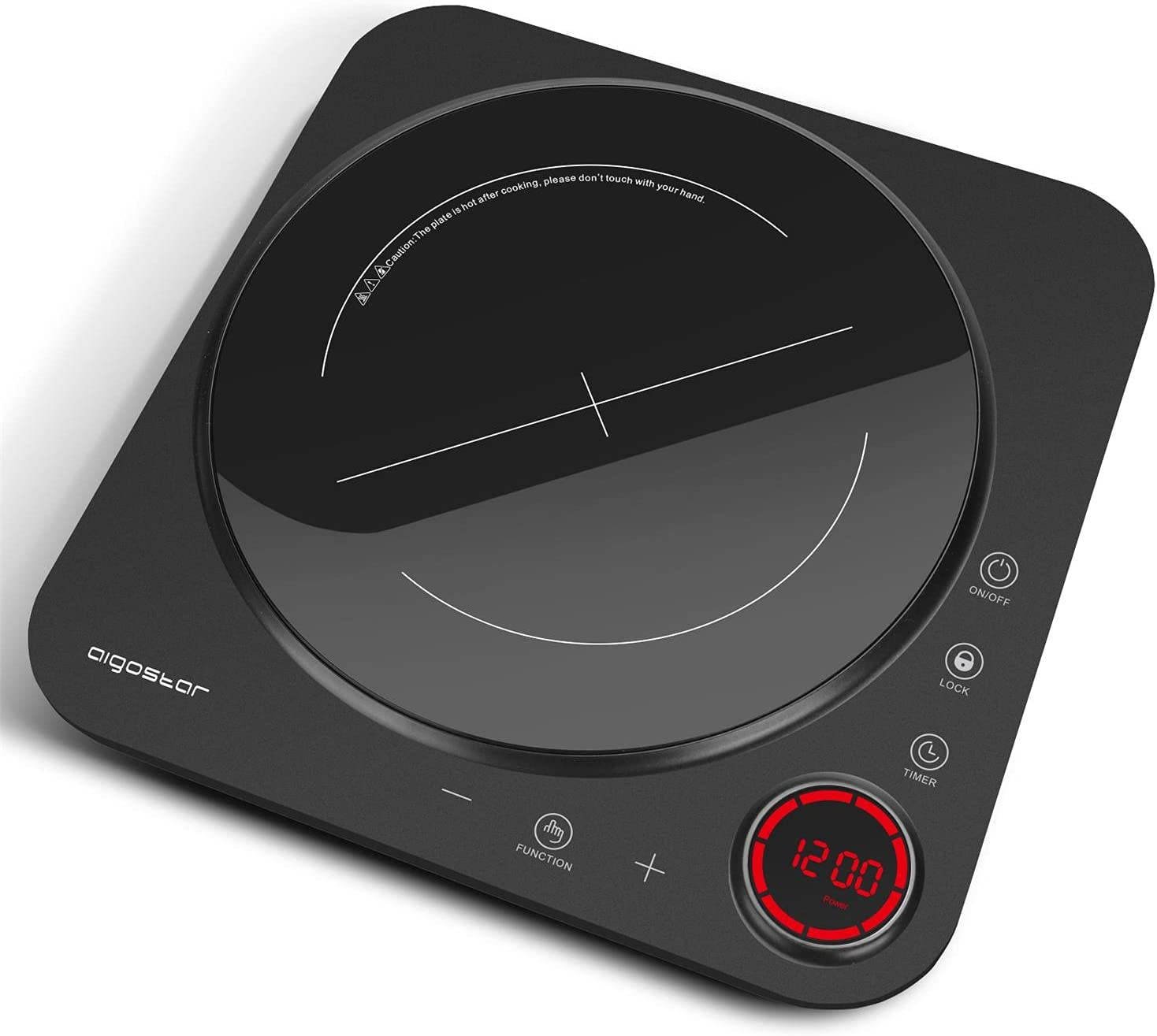 Aigostar Portable Induction Cooktop, Induction Burner with 8 Level Temperature ?Setting, LED Display, Sensor Touch, Timer, Countertop Burner 1500W with Child Safety Lock, Auto-Shut-Off, Rapid Heating