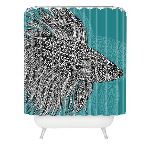 Deny Designs Valentina Ramos Beta Fish Shower Curtain, 69 x...