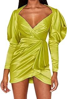 NANTE Top Women's Dress Sexy Irregular Lantern Sleeve Dresses V-Neck Pleated Bag Hip Slim Skirt Ladies Gown Nightclub Dress