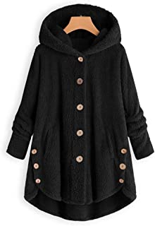 Coats for Womens, FORUU Fashion Women Button Fluffy Tail Tops Hooded Pullover Loose Sweater