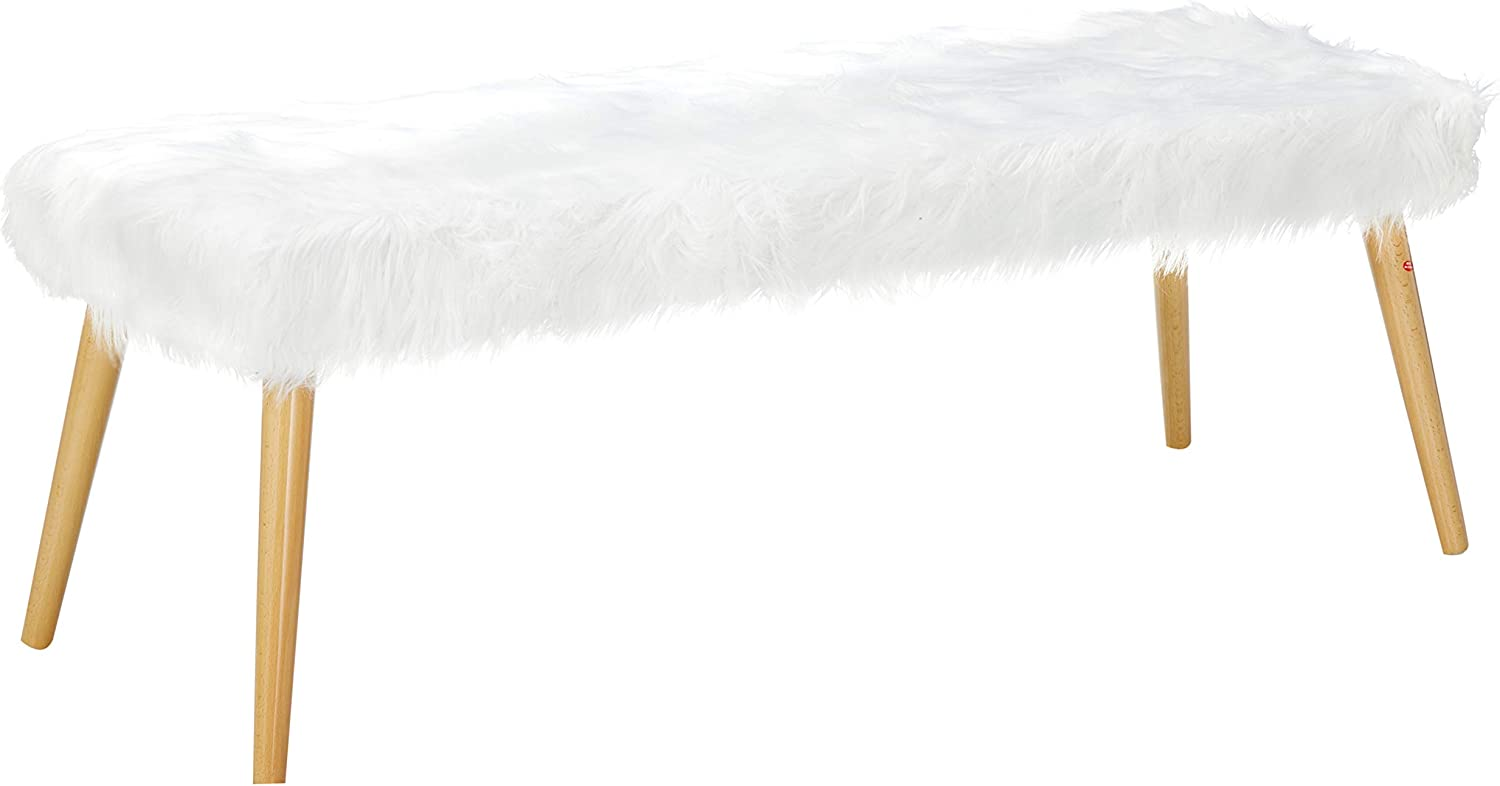 Christopher Knight Home Max All items in the store 55% OFF Magnus Long Furry Hair White Ottoman