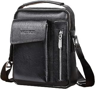 Men's Shoulder Bag, Popoti Leather Shoulder Bag Handbag Schoolbag Vintage Crossbody Bags Daypack Briefcase Multifunctional Messenger Bag (Black)