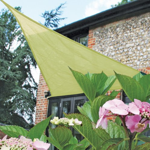 Easy Gardener Sun Sail Triangle Sun Shade (5 Year Sun Shade, Blocks Up to 90% of Harmful UV Rays) 11.8 feet x 11.8 feet x 11.8 feet, Beige