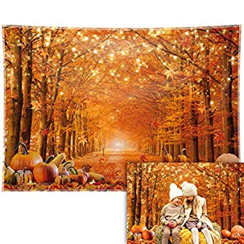 Allenjoy 7x5ft Durable/Soft Fabric Fall Photography Backdrop Autumn Maple Forest Leaves Pumpkin Background Thanksgiving Party Supplies Farm Harvest Event Banner Becoration Photo Booth Props