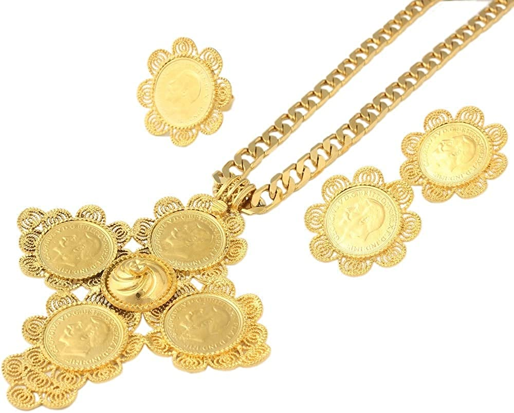 Big Size Cross Ethiopian Wedding Habesha Jewelry Sets for Women Gold Filled Cross Jewelry African Bridal Jewelry Sets