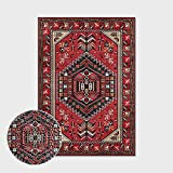 Alfombras Salon Grandes,Boho Large Size Non Slip Area Rugs Persian Red Geometric Stripes Soft Ethnic Carpet Outdoor Picnic Mat Art Home Decor For Living Dining Room Bedroom Kitchen,300X400Cm(118X157