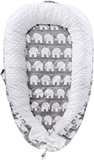 Baby Lounger, Baby Nest Super Soft 100% Cotton and Breathable Newborn Lounger Perfect for Co-Sleeping(Elephant)