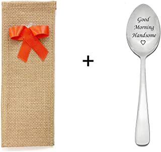 Engraved Spoon & Burlap Combo, 1 unit, Elegant Jute fabric pouch,Heart Shape Lace, Stamped-
