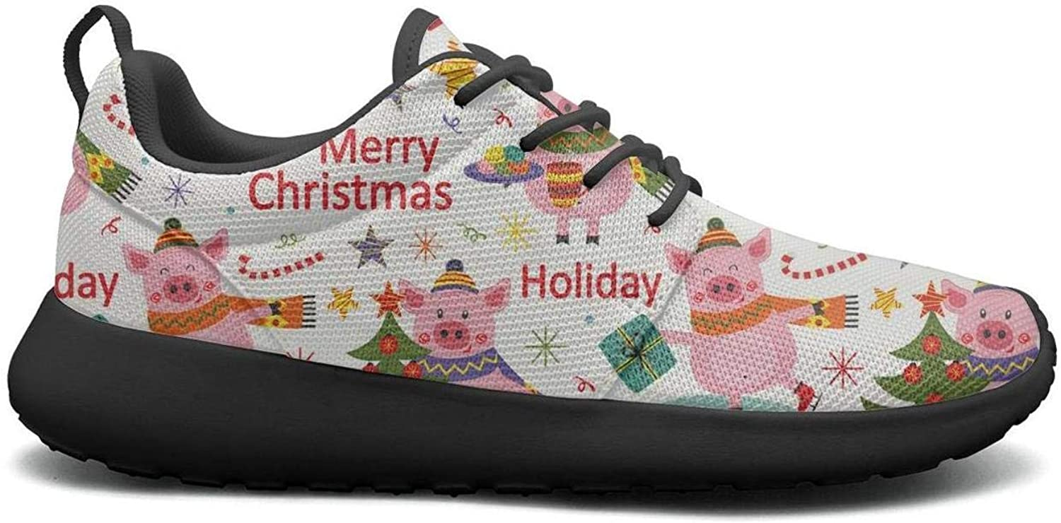 Gjsonmv Happy New Year of The Pig mesh Lightweight shoes for Women Summer Sports Walking Sneakers shoes