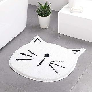 Cute Doormat for Kids - Microfiber Absorbent Bathroom Mats - Front Door Mat Carpet Floor Rug, Cat Shape