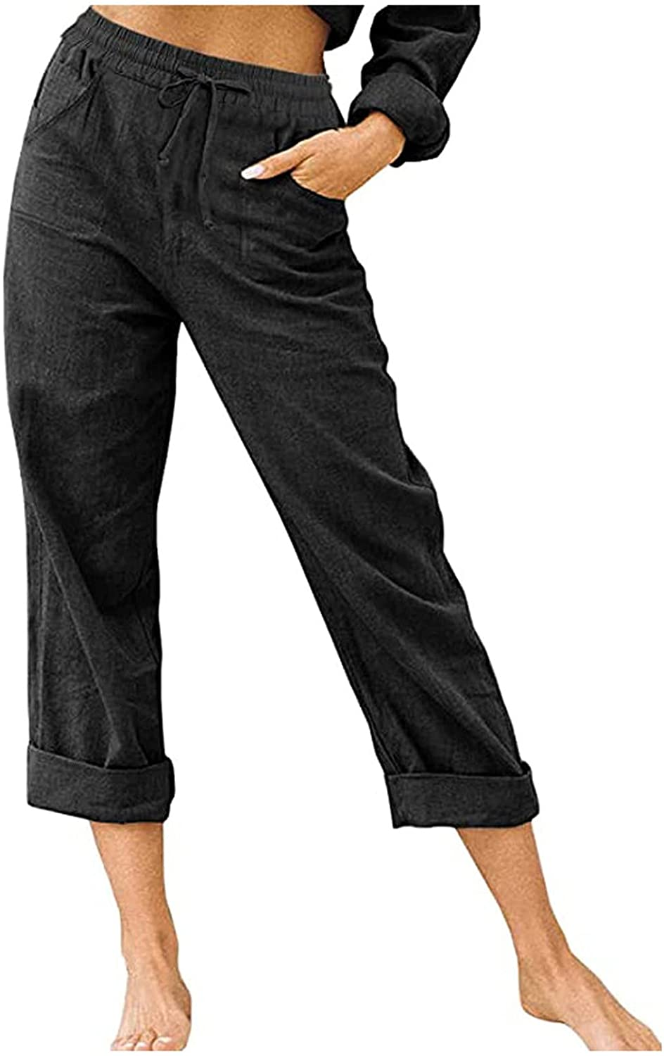 Misaky Women's Cotton And Linen High Waist Pants Solid Color Pants Casual Cropped Trousers