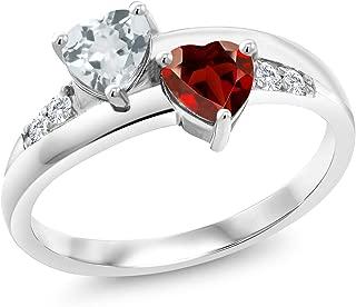 Gem Stone King 1.01 Ct Heart Shape Sky Blue Aquamarine Red Garnet 925 Sterling Silver Lab Grown Diamond Ring